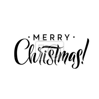 Frohe Weihnachten Schablone.Fototapete Frohe Weihnachten Kalligraphie Schablone Grusskarte Schwarze