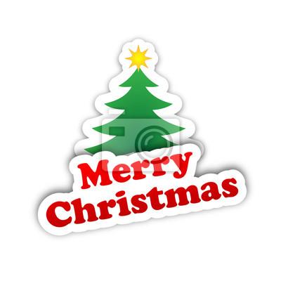 Frohe Weihnachten Aufkleber.Fototapete Frohe Weihnachten Karte Aufkleber Glücklich Grüße Baum