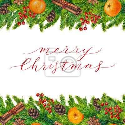 Frohe Weihnachten Rahmen.Fototapete Frohe Weihnachten Karte Mit Aquarell Rahmen Von Tannenzweigen