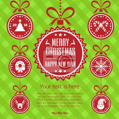 Frohe weihnachten-karte mit feier ball. frohes neues jahr. abbildung ...