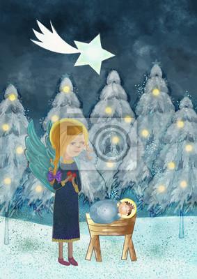 Frohe Weihnachten Jesus.Fototapete Frohe Weihnachten Karte Mit Kind Jesus Engel Und Stern Von Bethleh
