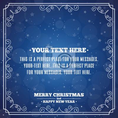 Frohe Weihnachten Text Karte.Fototapete Frohe Weihnachten Karte Mit Vintage Rahmen Auf Cyan Hintergrund