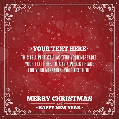 Frohe weihnachten-karte mit vintage-rahmen auf rotem hintergrund ...
