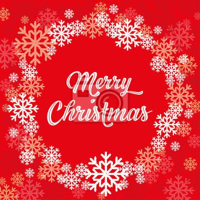 Karte Weihnachten.Fototapete Frohe Weihnachten Karte Mit Weissen Schneeflocken
