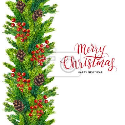 Frohe weihnachten-karte, weihnachten text auf aquarell nahtlose ...