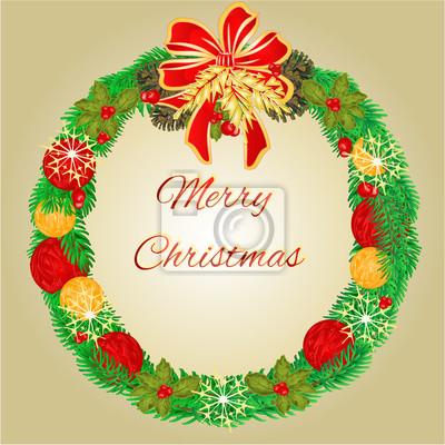 Kranz Aus Weihnachtskugeln.Fototapete Frohe Weihnachten Kranz Mit Weihnachtskugeln Und Tannenzapfen