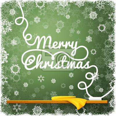 Frohe weihnachten nachricht, auf der grünen schule tafel geschrieben ...