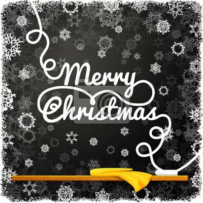 Frohe weihnachten nachricht, auf der schwarzen tafel der schule ...