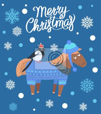 Frohe Weihnachten Pferd.Fototapete Frohe Weihnachten Pferd Und Vogel Vektor Illustration
