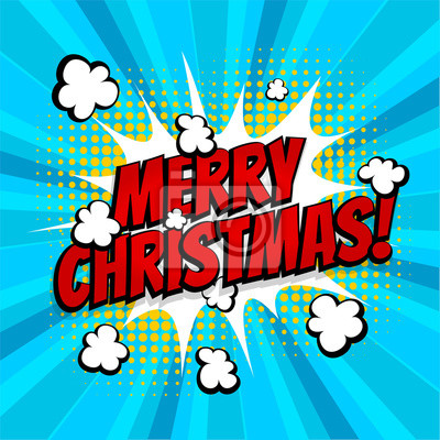 Comic Frohe Weihnachten.Fototapete Frohe Weihnachten Pop Art Comic Buch Text