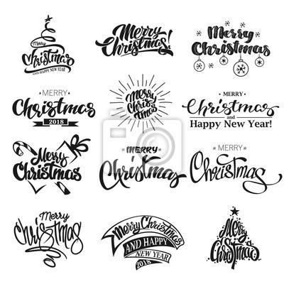Schriftzug Frohe Weihnachten.Fototapete Frohe Weihnachten Schriftzug Design Set