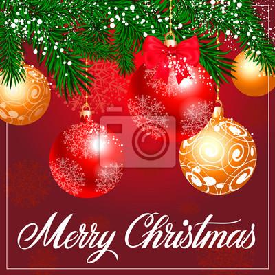 Frohe Weihnachten Rahmen.Fototapete Frohe Weihnachten Schriftzug Mit Rahmen