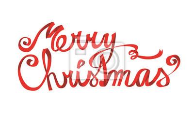 Frohe Weihnachten Band.Fototapete Frohe Weihnachten Schriftzug Rotes Band Von Hand Gezeichnet