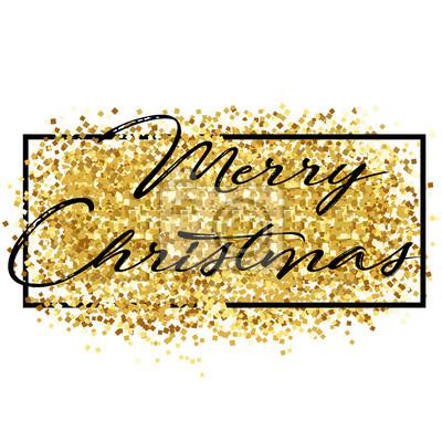Frohe Weihnachten Glitzer.Fototapete Frohe Weihnachten Schriftzug Weihnachtspostkarte Mit Goldenem