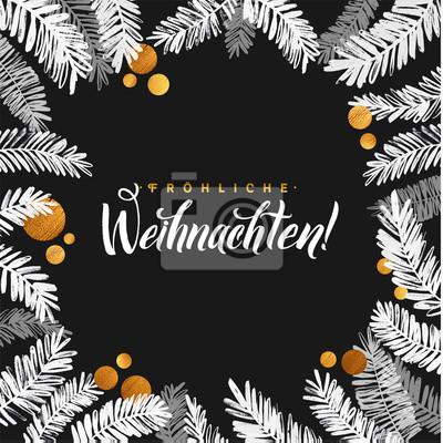 Frohe Weihnachten Glitzer.Fototapete Frohe Weihnachten Schwarz Und Gold Karte Golden Glanzend Glitzer