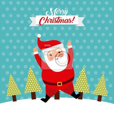 Lustig Frohe Weihnachten.Fototapete Frohe Weihnachten Springen Weihnachtsmann Lustig