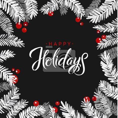 Frohe Weihnachten Schablone.Fototapete Frohe Weihnachten Tannenbaum Karte Kalligraphie Gruss Plakat Schablone