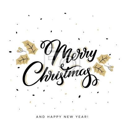 Frohe Weihnachten Text.Fototapete Frohe Weihnachten Text Schriftzug Auf Weissem Grund Handgemachte