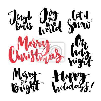 Frohe weihnachten text und saisonale grüße. handwritten pinsel ...