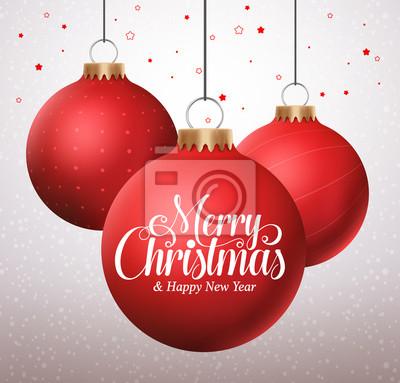 Weihnachten Grüße Bilder.Fototapete Frohe Weihnachten Typografie Grüße In Einem Hängenden Roten Weihnachtskugeln