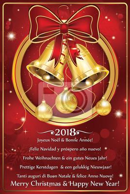 Frohe Weihnachten Und Ein Glückliches Neues Jahr In Allen Sprachen.Fototapete Frohe Weihnachten Und Ein Glückliches Neues Jahr 2018 In Vielen