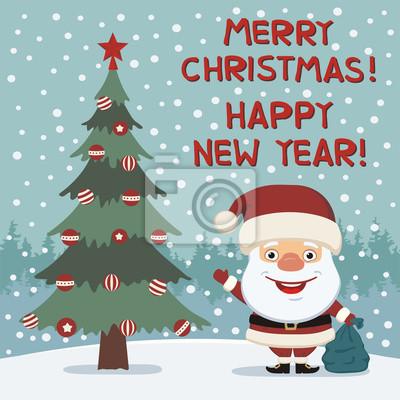 Bilder Frohe Weihnachten Und Ein Gutes Neues Jahr.Fototapete Frohe Weihnachten Und Ein Gutes Neues Jahr Funny Santa Claus