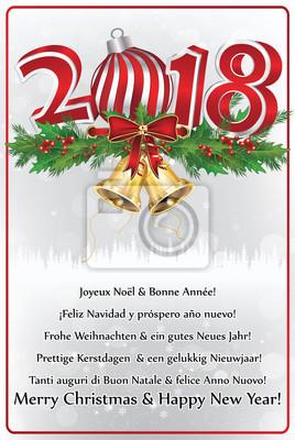 Frohe Weihnachten Englisch.Fototapete Frohe Weihnachten Und Ein Gutes Neues Jahr Grußkarte Mit Text