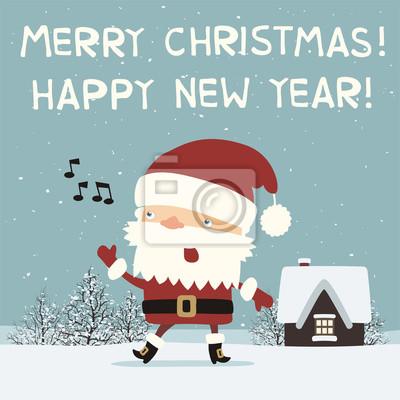 Bilder Weihnachten Neues Jahr.Fototapete Frohe Weihnachten Und Ein Gutes Neues Jahr Lustiger Weihnachtsmann