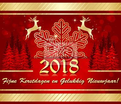Frohe Weihnachten Und Ein Gutes Neues Jahr Holländisch.Fototapete Frohe Weihnachten Und Ein Gutes Neues Jahr 2018 Auf Niederländisch