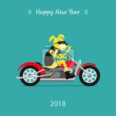 Frohe Weihnachten Motorrad.Fototapete Frohe Weihnachten Und Ein Gutes Neues Jahr 2018 Gelber Hund