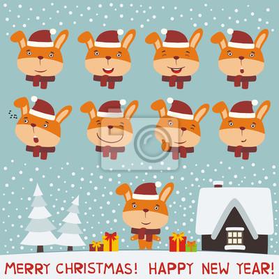 Frohe weihnachten und frohes neues jahr! set gesicht hase kaninchen ...