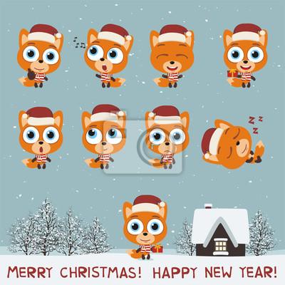 Frohe Weihnachten Und Guten Rutsch Ins Neue Jahr Set Lustige