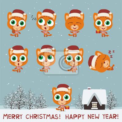 Frohe weihnachten und guten rutsch ins neue jahr! set lustigen ...