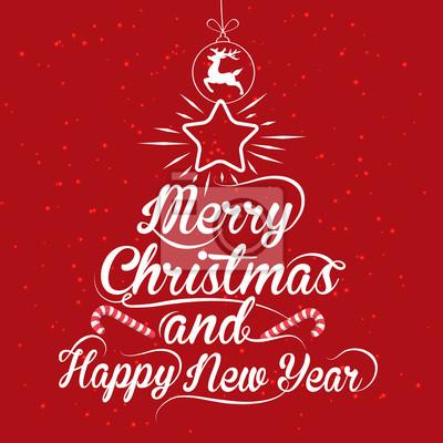 Frohe Weihnachten Und Guten Rutsch In Neues Jahr.Fototapete Frohe Weihnachten Und Guten Rutsch Ins Neue Jahr Kalligraphie