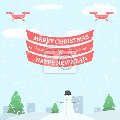 Frohe weihnachten und happy new year gruß. urlaub vektor ...