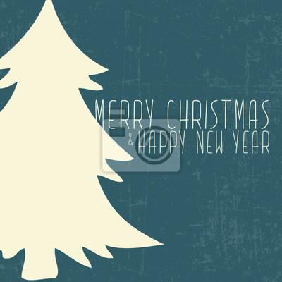 Frohe Weihnachten Und Happy New Year.Fototapete Frohe Weihnachten Und Happy New Year Karte Mit Weihnachtsbaum