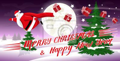 Lustige Weihnachten Bilder.Fototapete Frohe Weihnachten Und Happy New Year Landschaft Lustige Fette