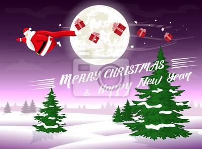 Frohe Weihnachten Lustige Bilder.Fototapete Frohe Weihnachten Und Happy New Year Landschaft Lustige Fette
