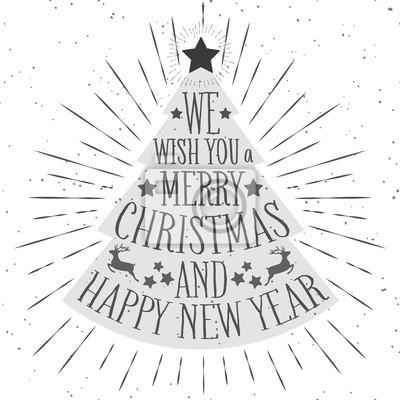 Weihnachten Wunsch.Fototapete Frohe Weihnachten Und Happy Newyear Grußkarte Mit Einer Silhouette