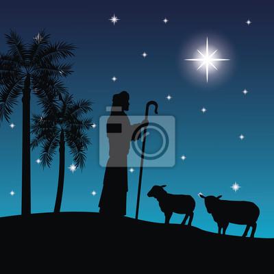 Hirten Bilder Weihnachten.Fototapete Frohe Weihnachten Und Heilige Familie Konzept Vertreten Durch
