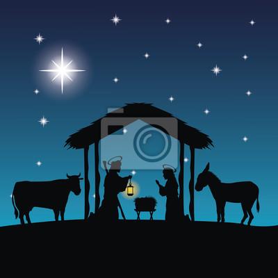 Frohe Weihnachten Familie.Fototapete Frohe Weihnachten Und Heilige Familie Konzept Vertreten Durch