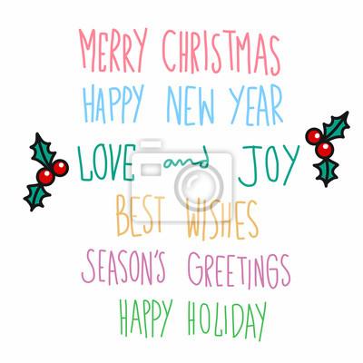 Zitate Weihnachten.Fototapete Frohe Weihnachten Und Zitate Handschrift Vektor Illustration