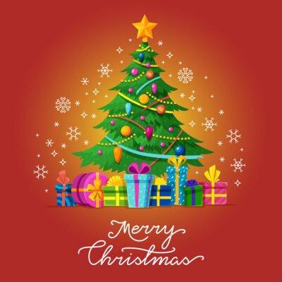 Weihnachtsbaum Weihnachten.Fototapete Frohe Weihnachten Vektor Grußkarte Mit Weihnachtsbaum