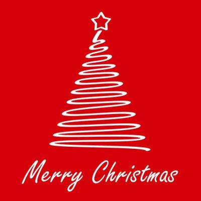 Weihnachtsbaum Weihnachten.Fototapete Frohe Weihnachten Weihnachtsbaum Auf Rotem Hintergrund