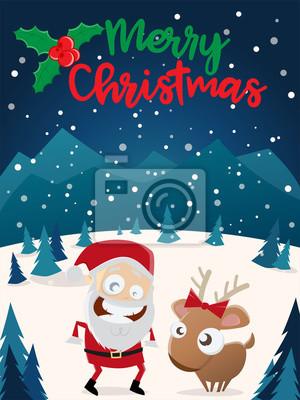 Frohe Weihnachten Clipart.Fototapete Frohe Weihnachten Weihnachtsmann Und Rentier Clipart