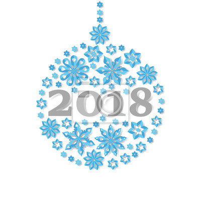 Frohes Neues Jahr 2018 Schneeflocke Weihnachten Ball Urlaub