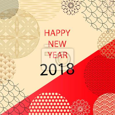 Frohes neues jahr 2018. vorlage grußkarte im orientalischen stil ...