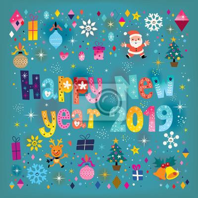 Frohes Neues Jahr 2019 Retro Grusskarte Fototapete Fototapeten