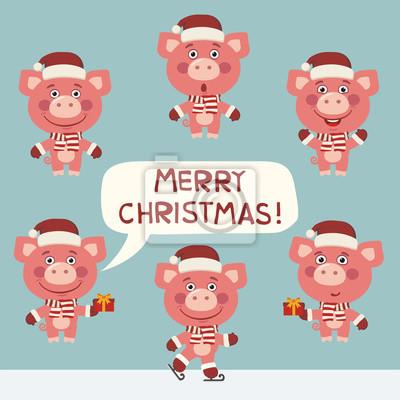 Bilder Weihnachten Lustig.Fototapete Fröhliche Weihnachten Vector Set Lustig Schwein Für Weihnachtsdekoration
