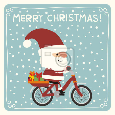 Weihnachten Funny.Fototapete Fröhliche Weihnachten Funny Santa Claus Mit Weihnachtsgeschenke